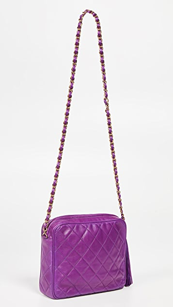 What Goes Around Comes Around Chanel Purple Lambskin Medium Camera Bag