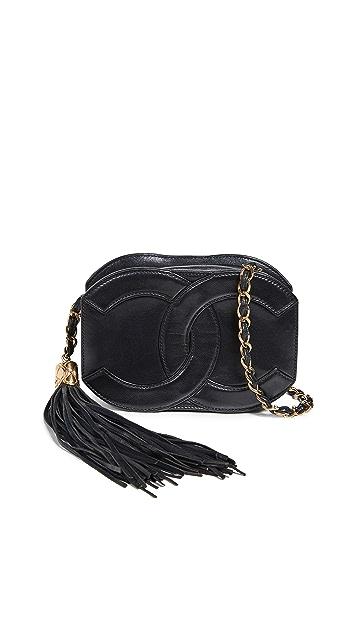 What Goes Around Comes Around Chanel Black Lambskin CC Mini Shoulder Bag