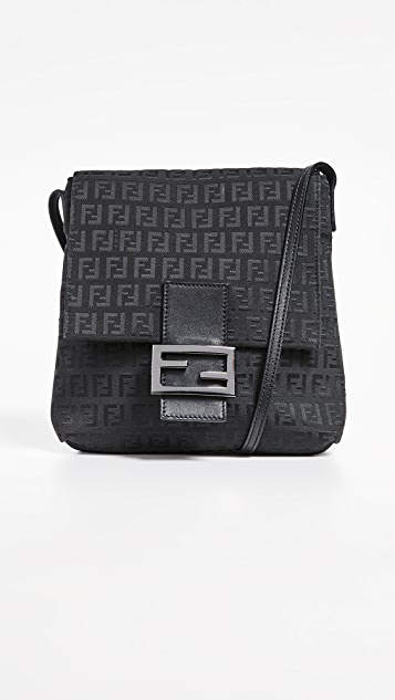 What Goes Around Comes Around Fendi Black Zucchino Small Messenger Bag