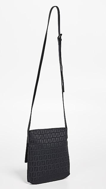 What Goes Around Comes Around Маленькая черная сумка-портфель Fendi Zucchino