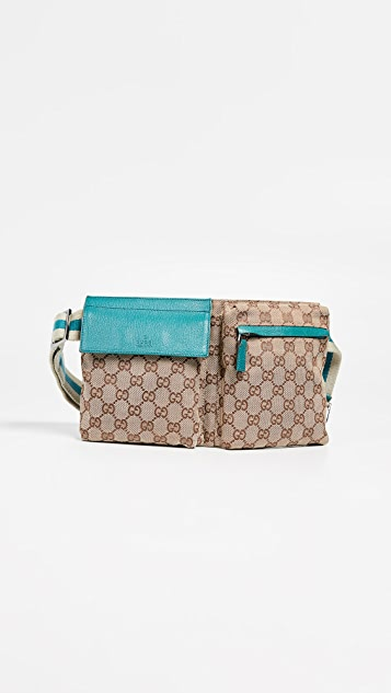 What Goes Around Comes Around Gucci Blue Canvas Waist Pouch - Blue