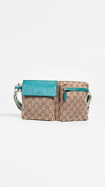 What Goes Around Comes Around Поясная сумка Gucci из синей холщовой ткани