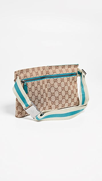 0db1ca1a0 What Goes Around Comes Around Gucci Blue Canvas Waist Pouch | SHOPBOP