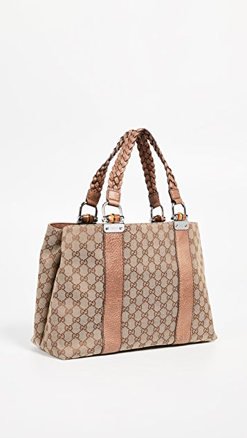 What Goes Around Comes Around Gucci Brown Canvas Bamboo Bar Tote