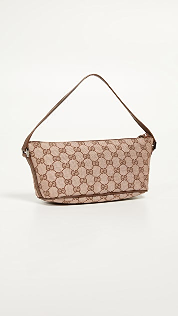 What Goes Around Comes Around Gucci Brown Canvas Pouch