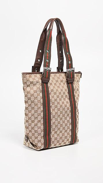 What Goes Around Comes Around Коричневая объемная холщовая сумка Gucci с короткими ручками и тканой лентой