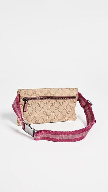 What Goes Around Comes Around Холщовая розовая поясная сумка Gucci
