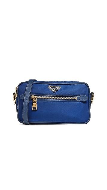 What Goes Around Comes Around Prada Blue Nylon Shoulder Bag