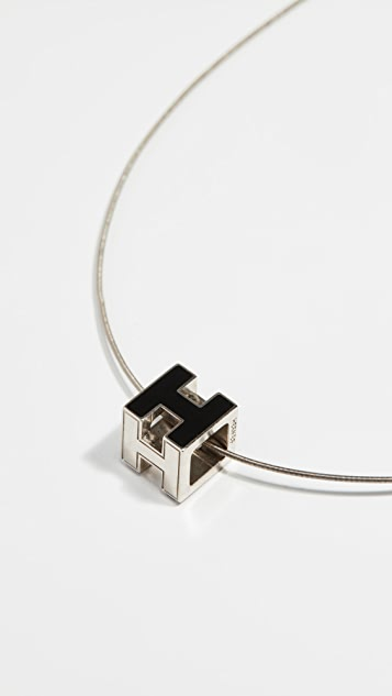 What Goes Around Comes Around Hermes Cagdh Necklace - Black/Silver