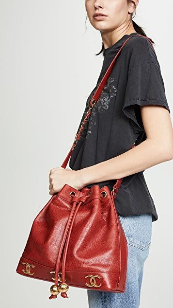What Goes Around Comes Around Chanel Caviar 3 CC Medium Bucket Bag