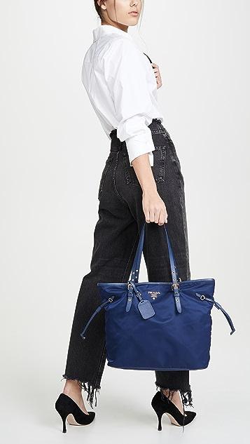What Goes Around Comes Around Нейлоновая объемная сумка с короткими ручками Prada