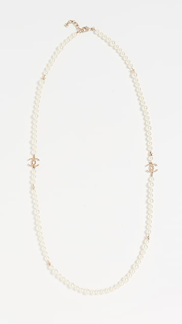 What Goes Around Comes Around Chanel Imitation Pearl and Star Necklace