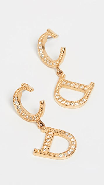 What Goes Around Comes Around Dior CD Drop Earrings