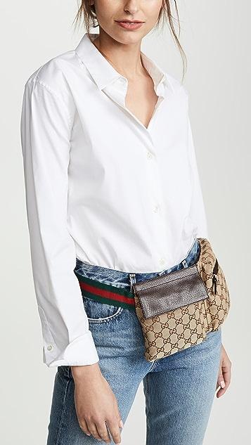 What Goes Around Comes Around Коричневая поясная сумка Gucci из холщовой ткани