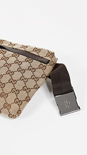 What Goes Around Comes Around Gucci Brown Coated Canvas Waist Pouch
