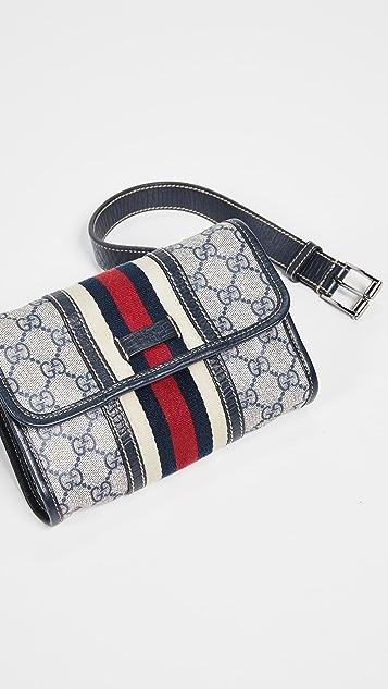 What Goes Around Comes Around Темно-синяя поясная сумка Gucci из холщовой ткани с покрытием