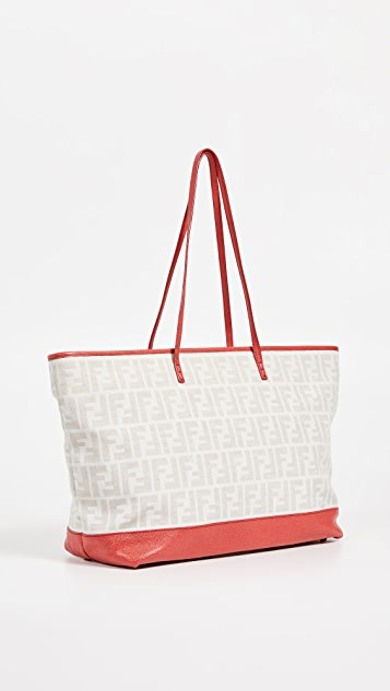 What Goes Around Comes Around Fendi Red Zucca Roll Tote