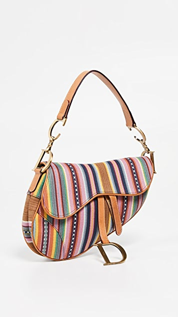 What Goes Around Comes Around Холщовая разноцветная седельная сумка Dior