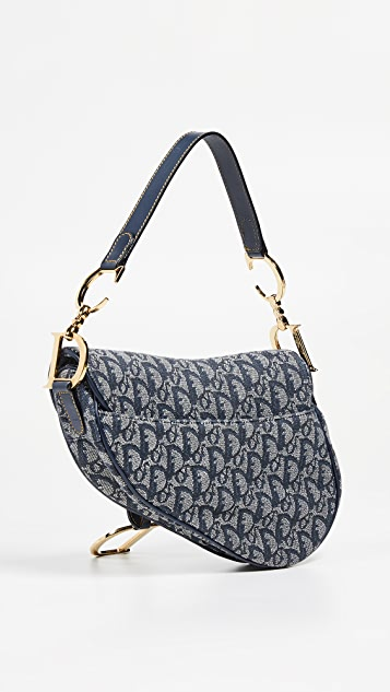 What Goes Around Comes Around Dior Navy Canvas Saddle Bag