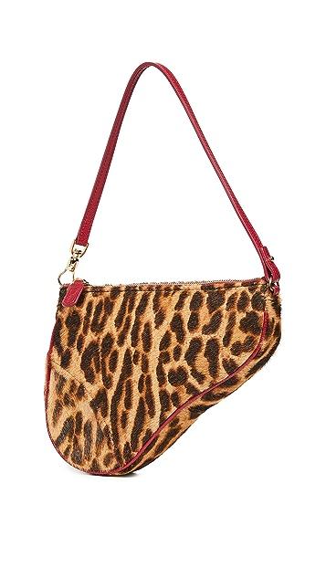 What Goes Around Comes Around Седельная сумка из кожи пони Dior Leopord