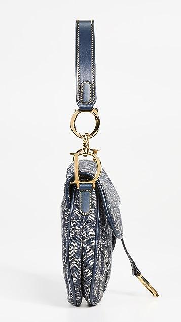 What Goes Around Comes Around Темно-синяя небольшая седельная сумка Trotter от Dior