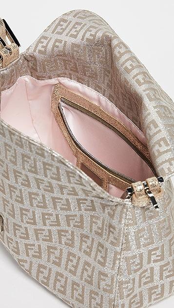What Goes Around Comes Around Золотистая прямоугольная сумка Zucca от Fendi
