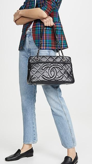 What Goes Around Comes Around Черная сумка для покупок Chanel среднего размера с текстурой икры