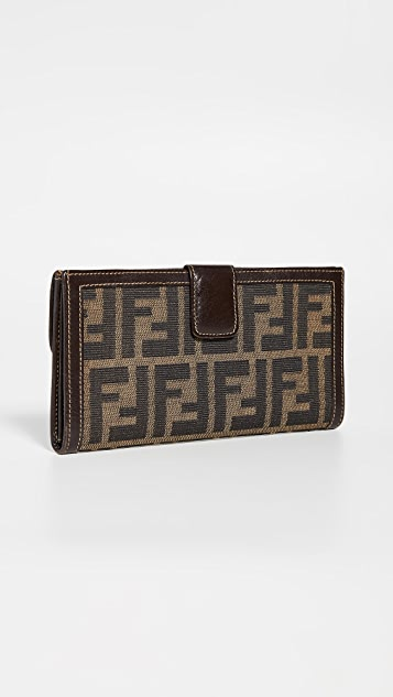 What Goes Around Comes Around Длинный кошелек Fendi Brown Zucca