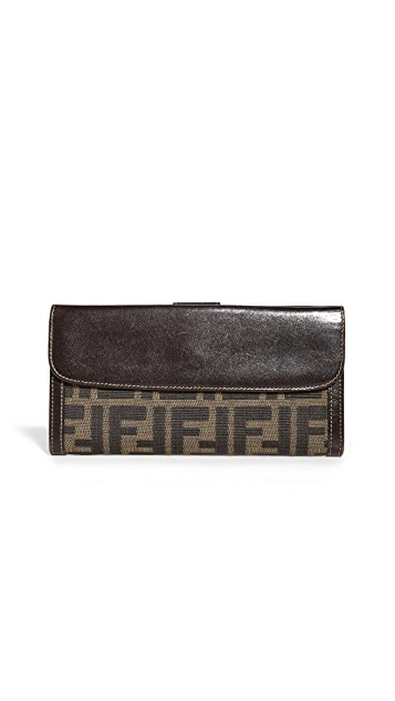 What Goes Around Comes Around Fendi Brown Zucca Long Wallet