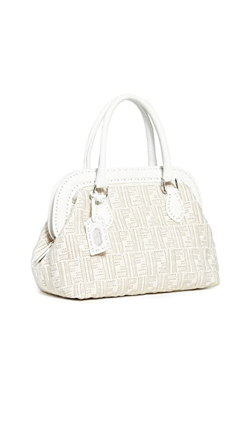 What Goes Around Comes Around Fendi White Woven Handbag