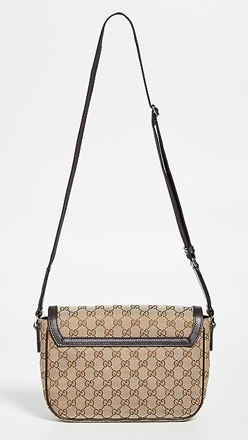 What Goes Around Comes Around Коричневая сумка-портфель среднего размера Gucci из холщовой ткани