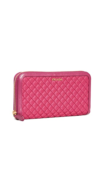 What Goes Around Comes Around Prada Pink Tessuto Zip Around Wallet
