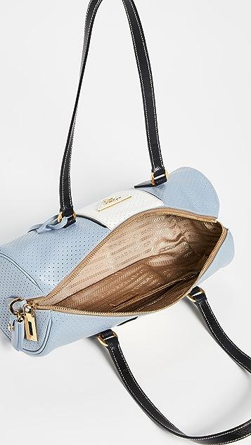 What Goes Around Comes Around Prada Blue/White Saffiano Fori Shoulder Bag