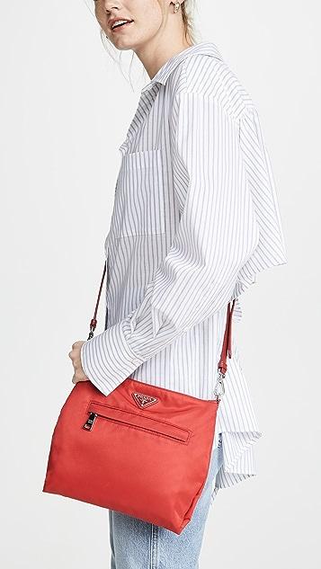 What Goes Around Comes Around Prada Red Tsuto Crossbody Shoulder Bag