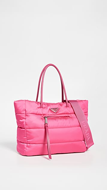 What Goes Around Comes Around Prada Pink Nylon Bomber Tote Bag
