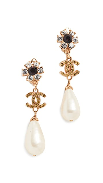 What Goes Around Comes Around Chanel Crystal Floral Drop Earrings