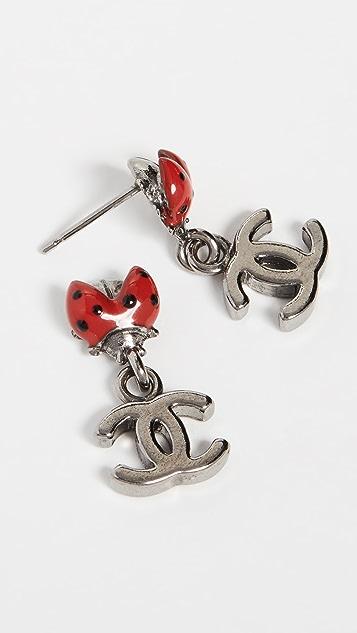 What Goes Around Comes Around Красные серьги Lady Bug с эмалью от Chanel