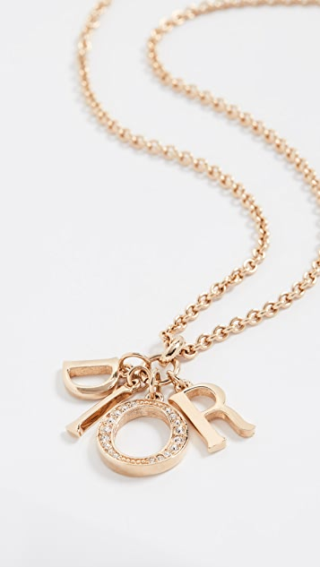What Goes Around Comes Around Dior Crystal Letters Necklace