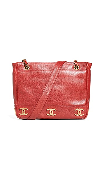 What Goes Around Comes Around Chanel 红色鱼子纹 3 CC 中号手提袋