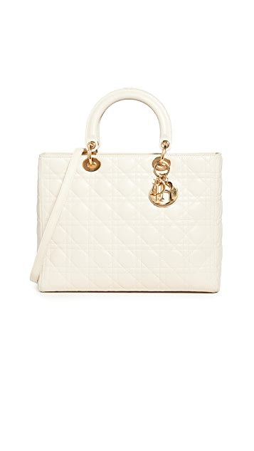 What Goes Around Comes Around Dior Cream Leather Lady Dior Large Tote