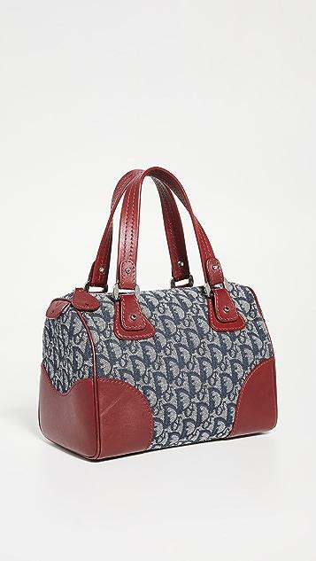 What Goes Around Comes Around Миниатюрная сумка Boston от Dior из темно-синей и красной холщовой ткани