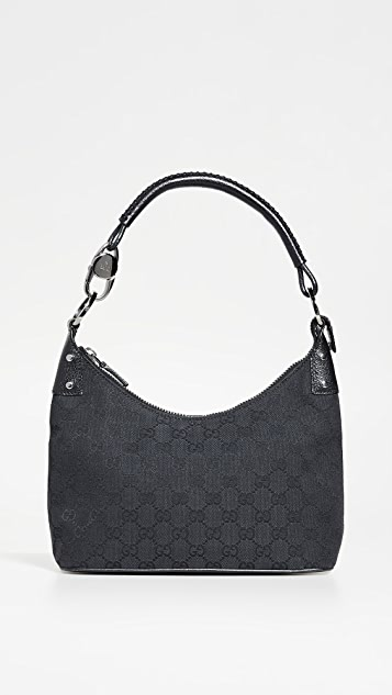 What Goes Around Comes Around Gucci Black Canvas Hobo Bag