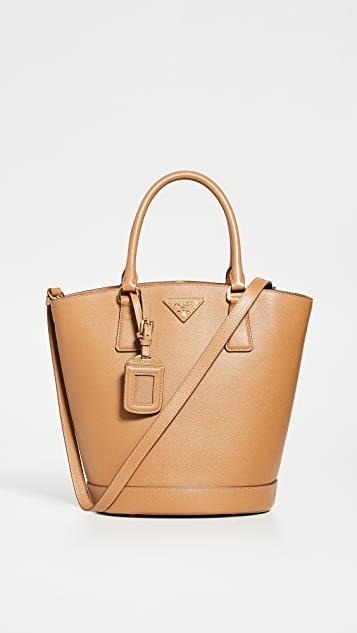 What Goes Around Comes Around Prada Brown Saffiano Bucket Bag