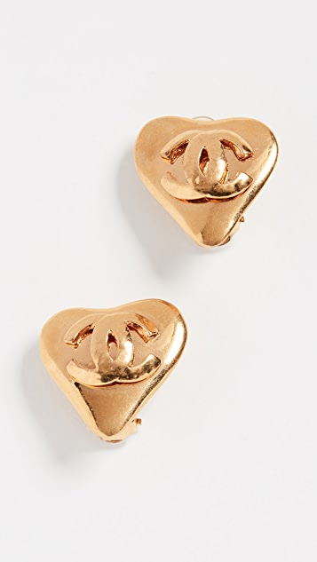 What Goes Around Comes Around Chanel Clip On Heart Earrings