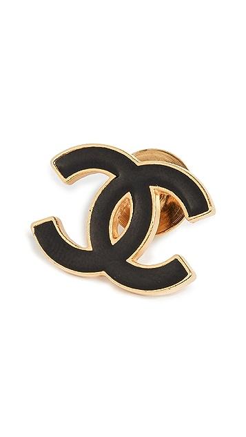 What Goes Around Comes Around Небольшая брошь Chanel из черного золота