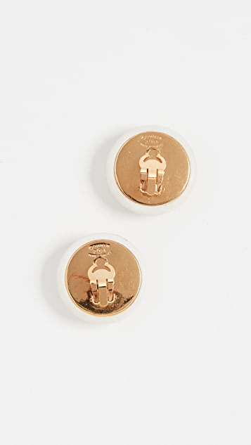 What Goes Around Comes Around Chanel White Enamel Button Earring