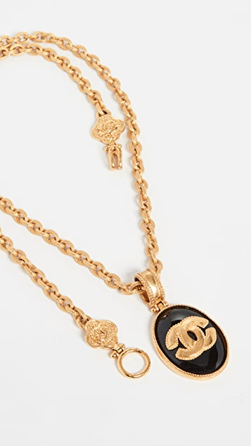 What Goes Around Comes Around Chanel Black and Gold Necklace