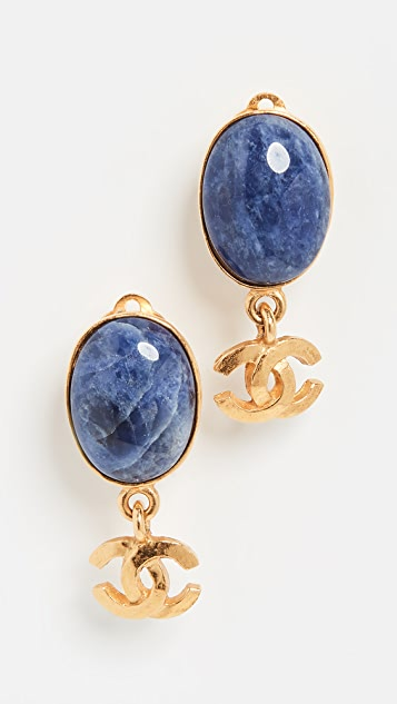 What Goes Around Comes Around Chanel Blue and Gold Dangler Earrings