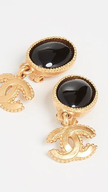 What Goes Around Comes Around Черно-золотые висячие серьги Chanel