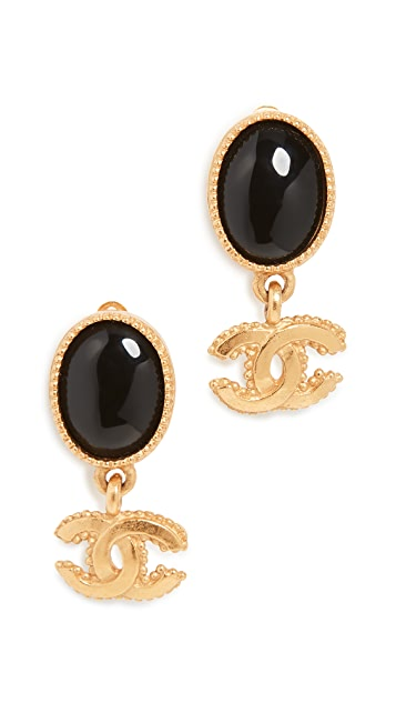 What Goes Around Comes Around Chanel Black and Gold Dangle Earrings